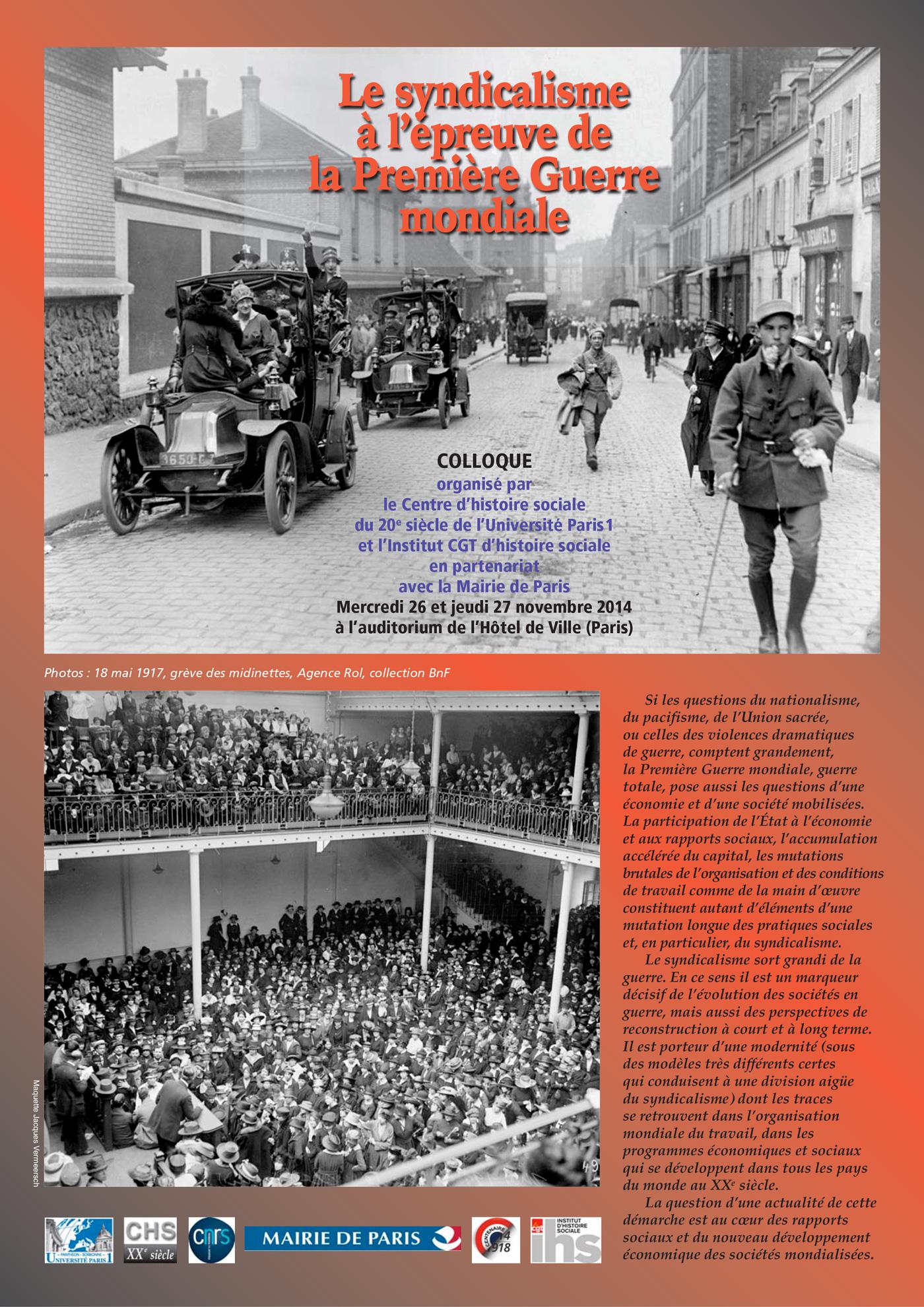Programme colloque La CGT à l'épreuve de la Première Guerre mondiale